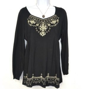RXB Long Sleeve Embroidered Black Tunic Size M